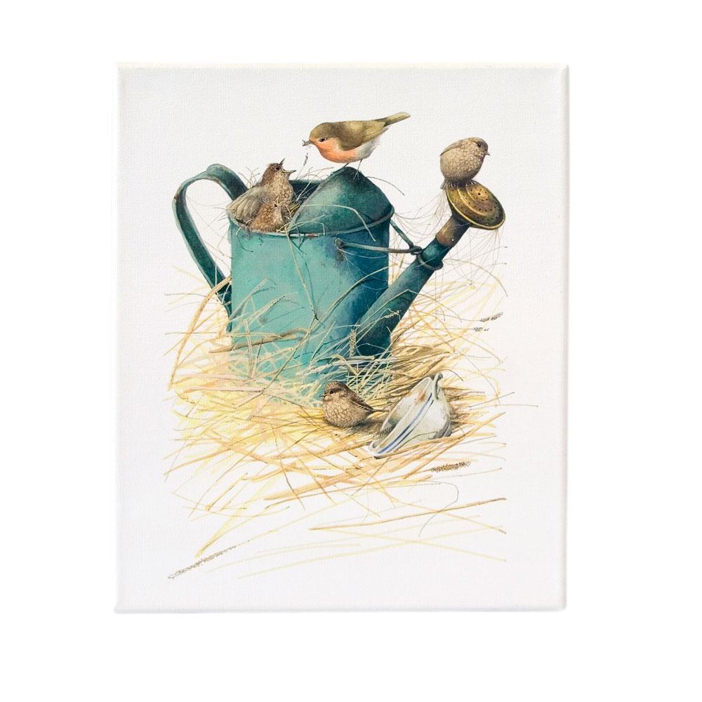 Canvas tekening Roodborst - Marjolein Bastin