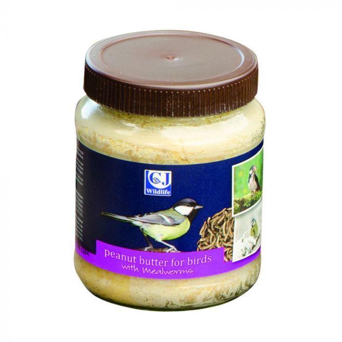 Pindakaas voor tuinvogels met meelwormen