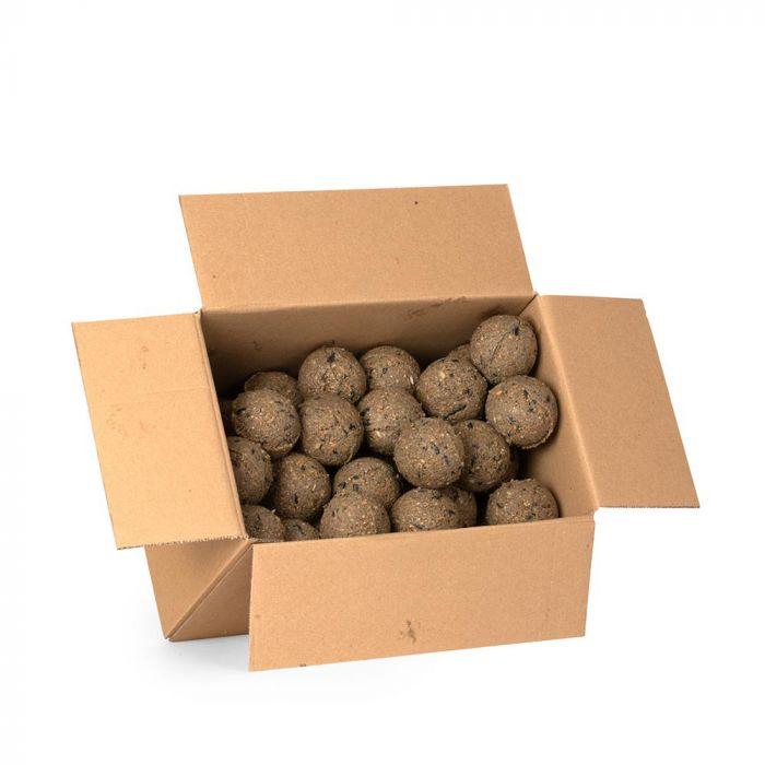 50 vetbollen met insecten in een doos